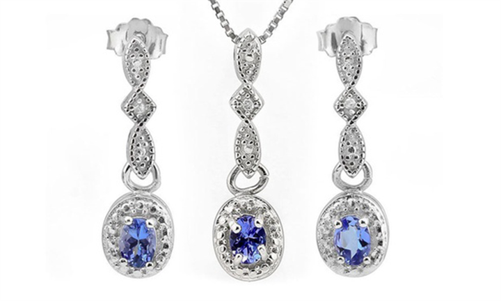 Oval Cut Tanzanite and Diamond Earrings and Necklace Set for R999 incl Delivery