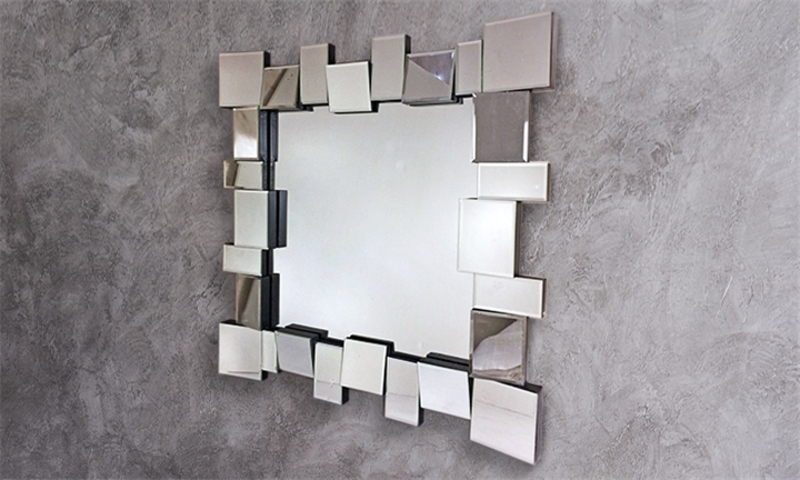 Hyperli | Square wall Mirror with Glass Panel Frame for R3199