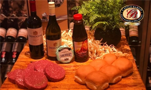 Pick-Up: Burger Night Meat Hamper Including a Bottle of Wine from Cattle Baron Grill House, Tyger Waterfront